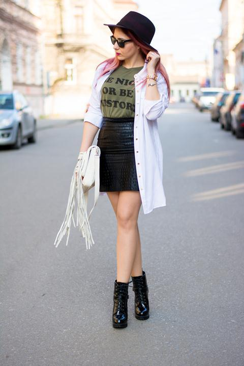 Skirt and Boots Outfit