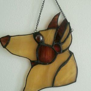 "Stained Glass Sun catcher ""shephard dog face""  6.5 x 6 inch"