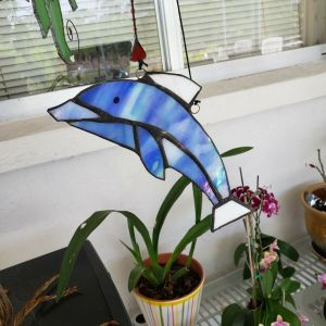 7 x 3 inch Stained Glass Dolphin Ornament
