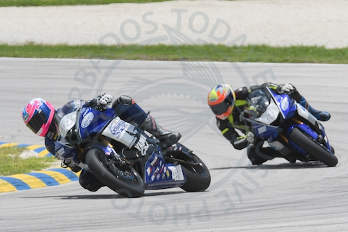 British brothers Matt (leading) and Harry Truelove dominated the CMRC Superstock 600 races on their Yamaha R6s, Matt setting a new lap record.