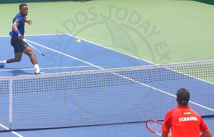 Darian King with a return shot during his match against Emilio Gomez of Ecuador. (Pictures by Morissa Lindsay)