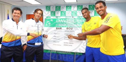 (From left) Gonzalo Escobar and doubles teammate Diego Hildago will play Barbadian pair of Darian King and Haydn Lewis. (Pictures by Morissa Lindsay)