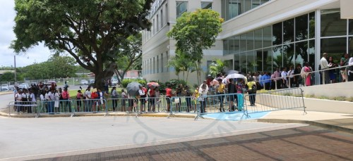 The snaking line outside the Lloyd Erskine Sandiford Centre today as Barbadians sought employment with five-diamond hotel Sandy Lane.