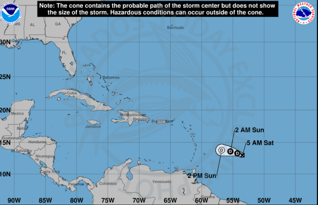 Tropical Storm Kirk speeds up as it moves west across the Atlantic