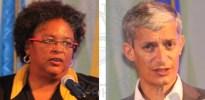 Prime Minister Mia Mottley and Bitt CEO Senator Rawdon Adams