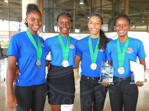(From left) Rebecca Simpson, Stephian Shepherd, Zehra Ashby and Alesha Squires - the victorious women's team.