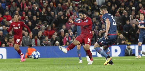 Mohamed Salah about to score his second goal of the game.