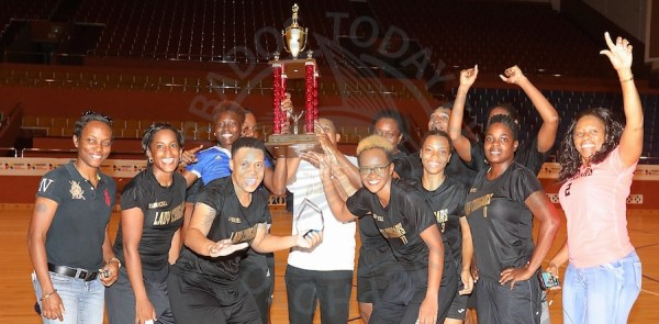 Massy Duracell Lady Cougars are champions of the #1 Beauty Supplies and Exchange Barbados Amateur Basketball Association Premier League. Front row third left is Cougars captain and MVP Toni Atherley. (Picture by Morissa Lindsay)