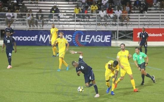Barbados captain Hadan Holligan (wearing number ten) scored the opening goal.
