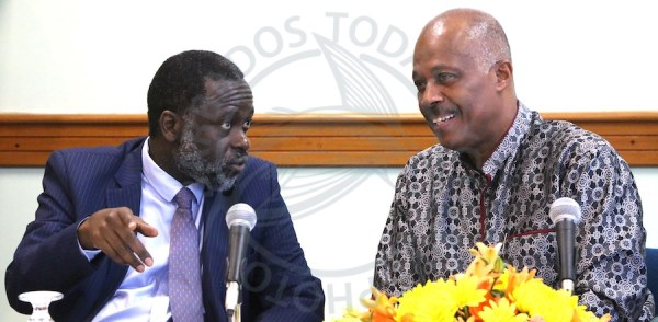 Vice Chancellor of UJ Professor Tshilidzi Marwala (left) chats with Vice Chancellor of the UWI Sir Hilary Beckles during today's media launch.