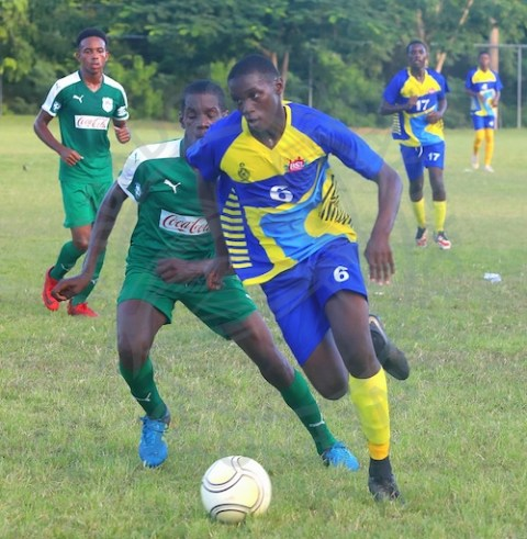 National Under-20 player Andre Applewhaite (right) scored a brace to give Combermere the lead. (Pictures by Morissa Lindsay).