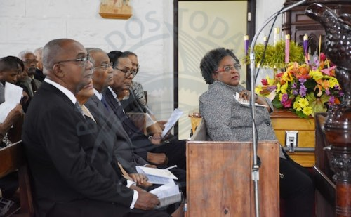 Hundreds, including Prime Minister Mia Mottley (right), gathered at St David's Anglican Church to bid farewell to cultural icon Andrea Gollop-Greenidge.
