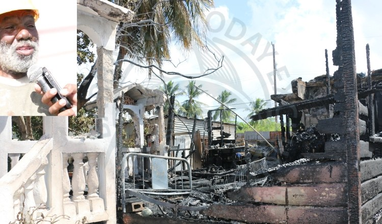 Alvin Cadogan (inset) lost his Black Rock, St Michael home to fire this morning.