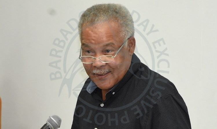 Former Prime Minister Professor Owen Arthur during last night's lecture at the University of the West Indies, Cave Hill Campus. (Picture by Kemar Holder.)