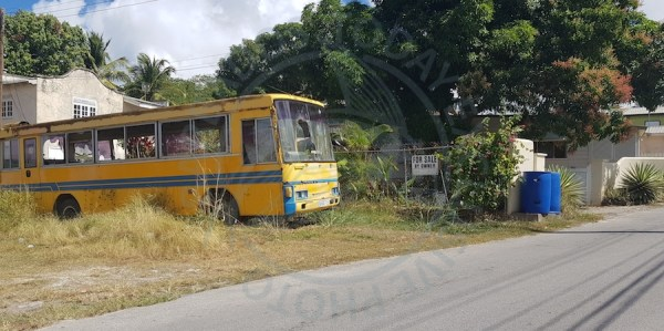 The abandoned bus at Chapel Gap, Paynes Bay, St James, which residents want to see moved.