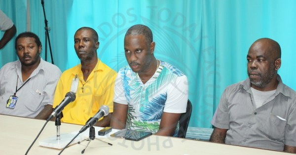 From left, Richard Marshall, Vice President Ricardo Forde, spokesperson Fabian Wharton and President of the new association Shawn Best during today's press conference.