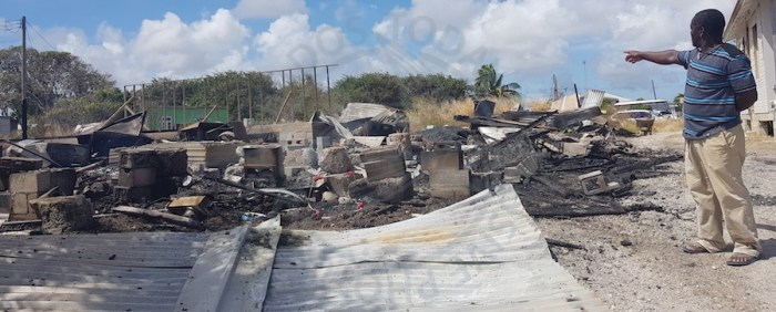 Corville Browne showing the extent to which his Diamond Valley, St Philip  home and De Mash Up Bar was destroyed by fire.