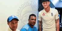 England captain Joe Root (left) and allrounder Ben Stokes flanking Shannon Gabriel in the dressing after the end of the Test series.