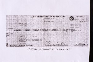 3.3 million dollar CLICO cheque paid to Thompson Associates