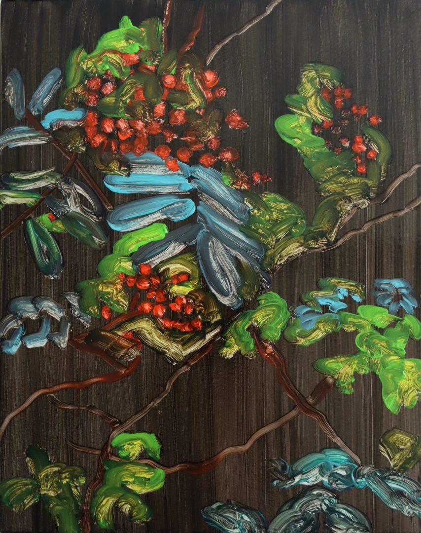 Rowan Berries, oil on panel, 30x35cm.2020