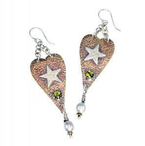 Metal Work - Bronze Heart with Silver Star - Earrings