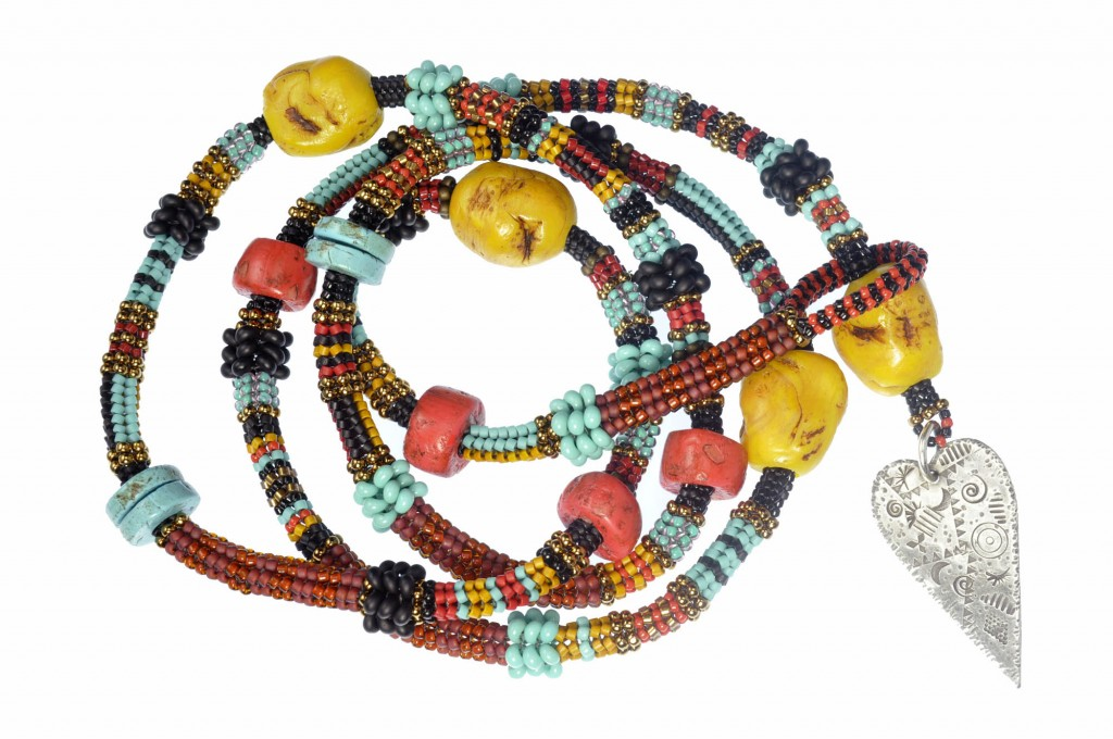 Tibetan Inspired Beaded Rope Necklace Without Beaded Charms