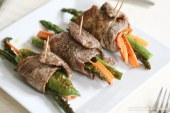 Rolinho de carne com legumes