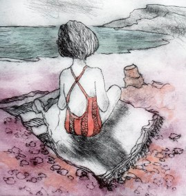 Girl on the Beach - Etching