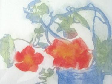 Nasturtiums Blue Pot