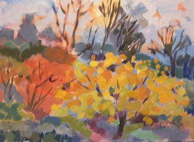 Garden in Autumn. Oil Painting