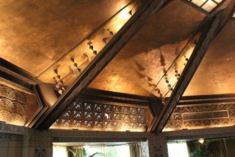 The Aztec Room has a gorgeous gold leaf ceiling.