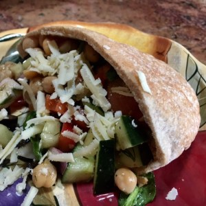 Healthy Mediterranean chicken and vegetable salad