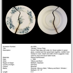 Inventory Sheet, DM0061, The Division Museum of Ceramics and Glassware, digital c-print