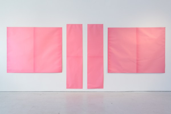 Rawson Projects Façade Fade, Rose, Exposure Time 744 Hours 2012, scenic backdrop paper, natural ultraviolet light Four parts: 75.5 x 184 inches, 192 x 467cm