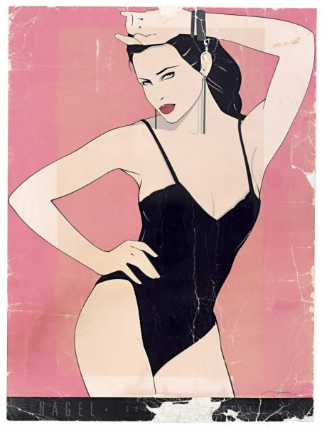 Patrick Nagel, Black Teddy, Bleach Bath, Fine Art Poster, UV Exposure Time Two Weeks, 2009, digital c-print, 24 1/2 x 19 inches, 62 x 48 cm
