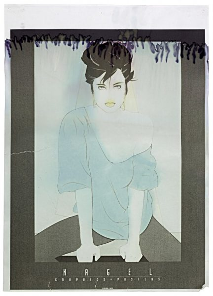 Patrick Nagel, Untitled, Laser Jet Print on Adhesive Paper, Bleach Bath, 2009 digital c-print, 24 3/4 x 18 1/4 inches, 63 x 46 cm.