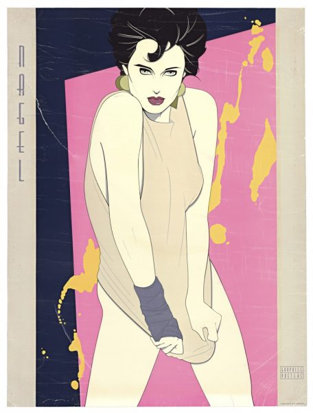 Patrick Nagel, Orange Splash, Fine Art Poster, Bleach Bath, UV Exposure Time Three Weeks,  2009, digital c-print, 24 3/4 x 19 inches, 63 x 48 cm.