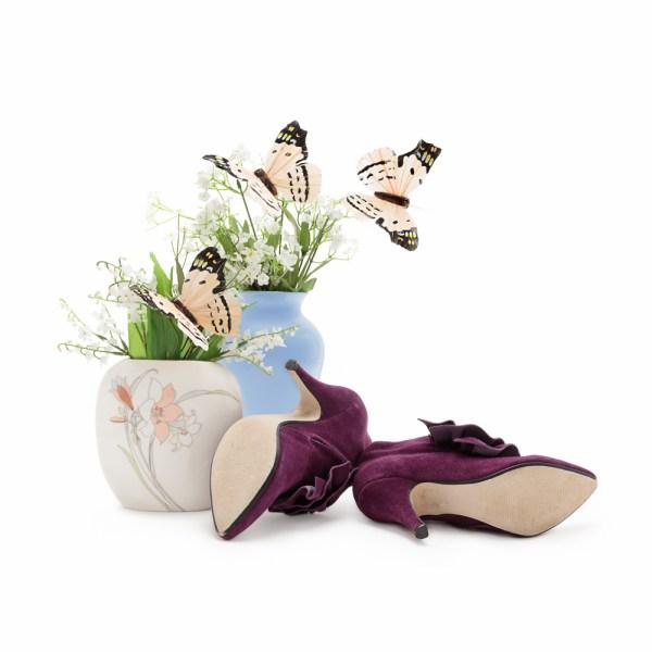 Purple Suede Ankle Boots | Size 36 Euro | Size 6 US | Vintage Stiletto Boots | Women