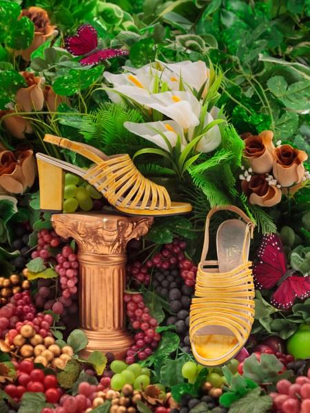 Vintage Slingback Sandals Size 7.5 | Yellow 1970s Block Heel Sandal | 70s Boho Chunky Women