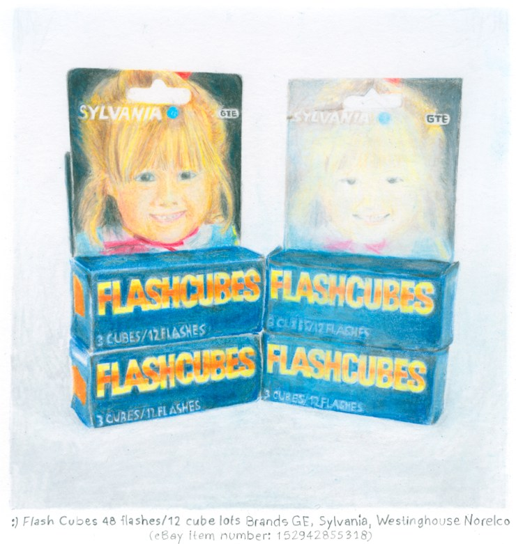 Drawing by Barb Choit, :) Flash Cubes 48 flashes/12 cube lots Brands GE, Sylvania, Westinghouse Norelco (eBay item number: 152942855318)