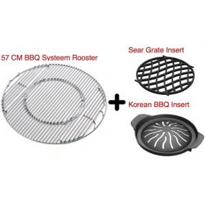 3 in 1 Aanbieding Set: Barbecue systeem rooster + Sear Grate insert + Koreaanse BBQ insert - leverbaar 7-8-2020