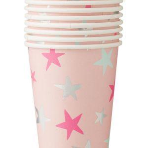 HEMA Papieren Bekertjes - 250 Ml - Roze Ster - 8 Stuks (multicolor)