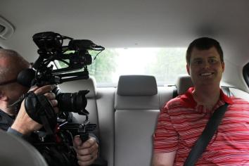 Speedy getting interviewed in the back of Monk's car on the way from 12 Bones to Switzerland Cafe
