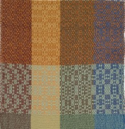 Row 1 and 2 correspond to pages 134 and 135, treadlings 2 and 3. The designs are from The Handweaver's Pattern Directory with the exception of the brown Column.