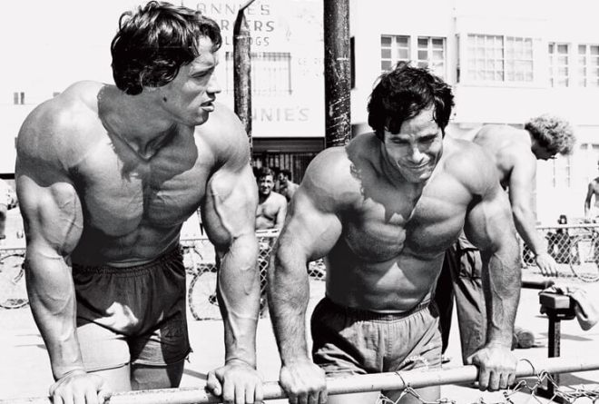 Arnold and Franco training together