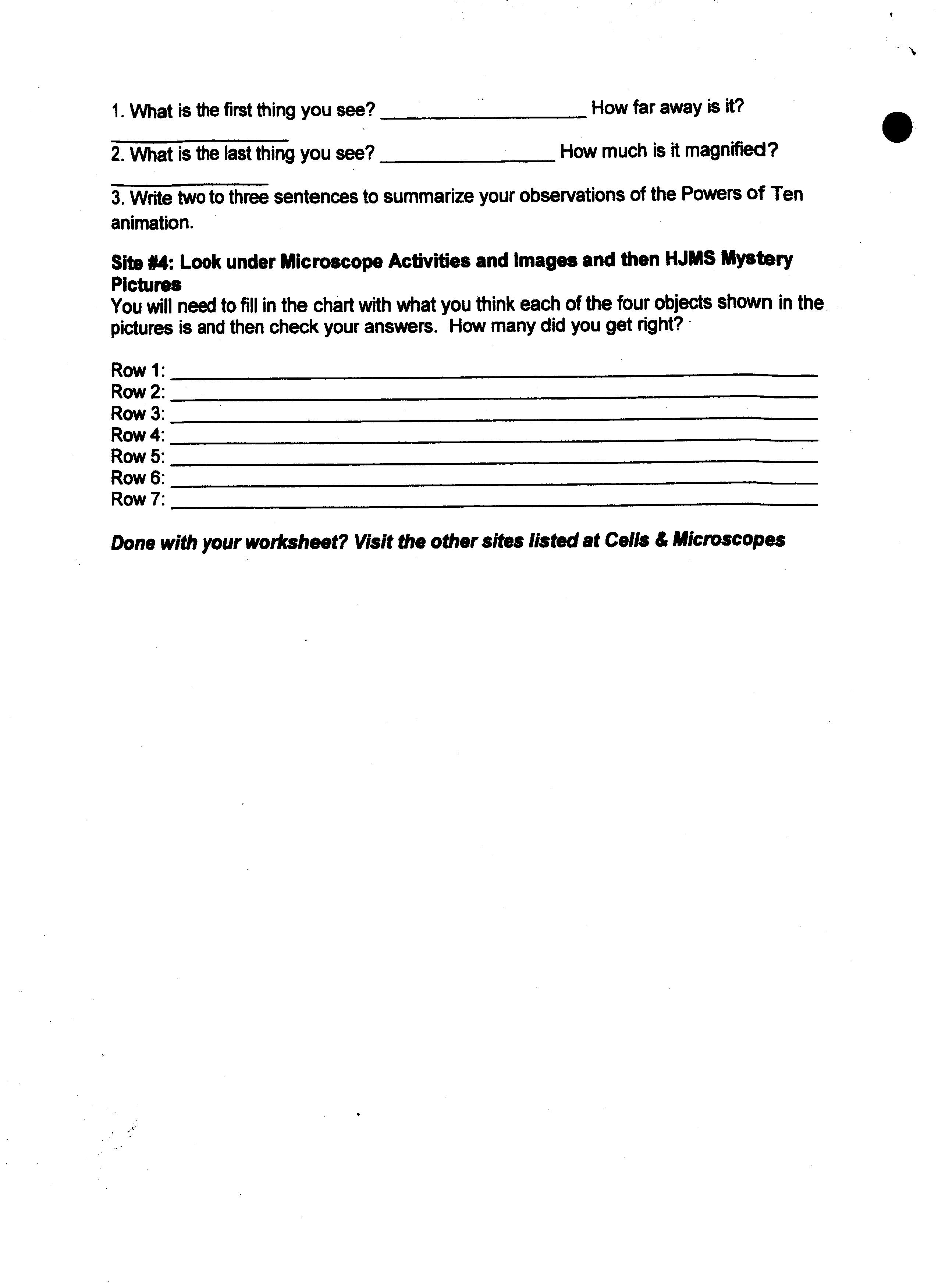 Microscopes Online Worksheet Answers