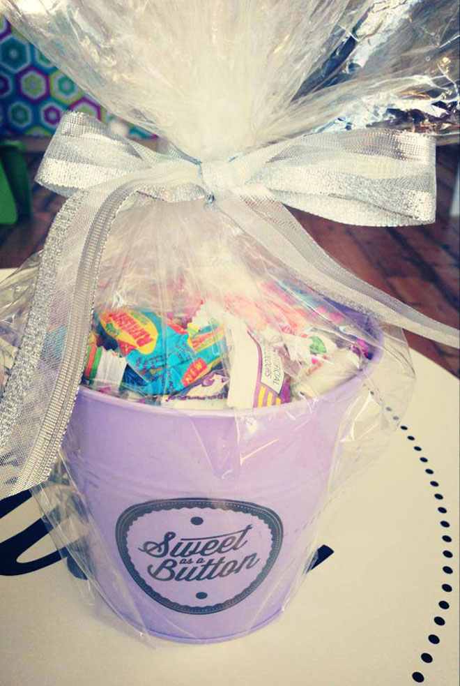A gift wrapped bucket of sweets
