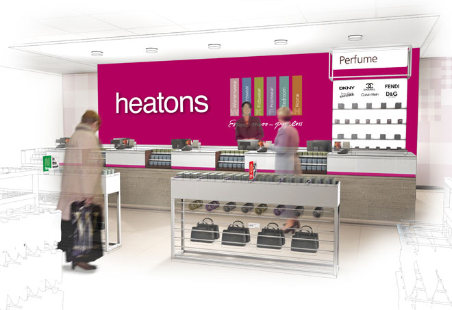 perfume counter visual designs by Barber for the new Heatons store