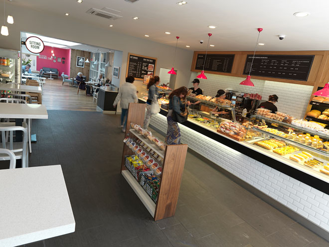Looking towards the rear of the store from the bakery counter