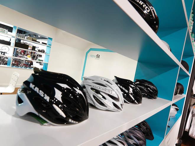 Helmet range on clean design shelving